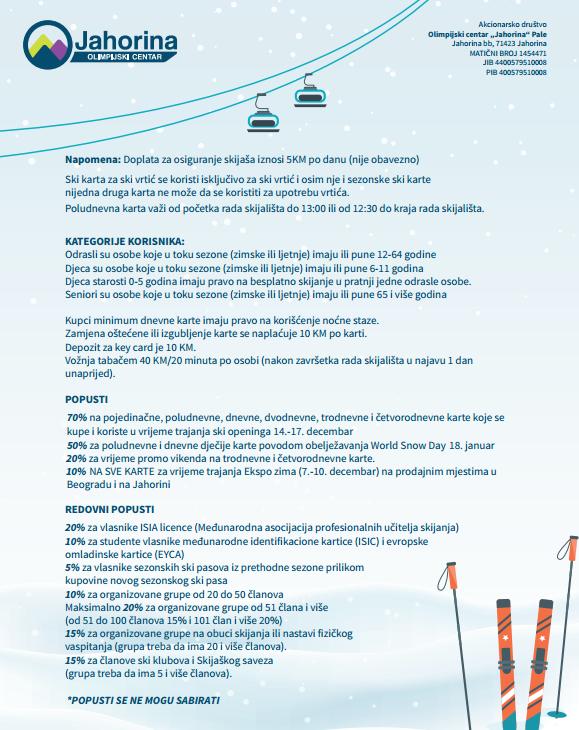 Uslovi i napomene koristenja Ski Pasa-a